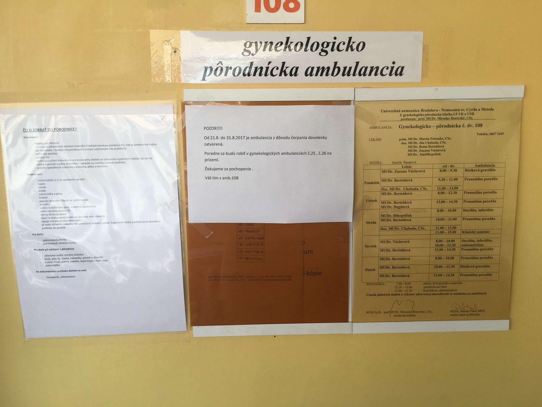 Ordinačné hodiny - prenatálna poradňa Antolská, ambulancia č. 108